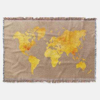 Manta amarelo do mapa do mundo