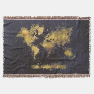 Manta amarelo preto do mapa do mundo