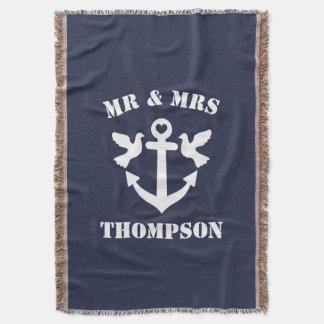 Manta Âncora náutica do Sr. e da Sra. azul marinho e