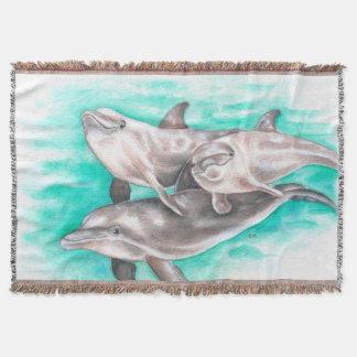 Manta Cerceta da aguarela dos golfinhos