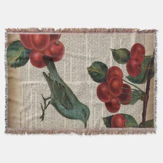 Manta cereja vermelha botânica retro do pássaro francês