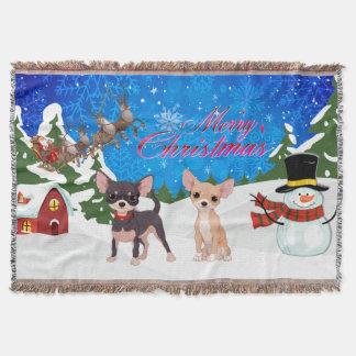 Manta Chihuahua do Feliz Natal com papai noel