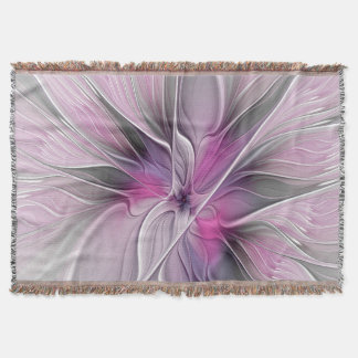 Manta Cinzas abstratas modernas do rosa da flor do