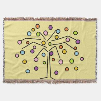 Manta Cobertura colorida do lance da árvore das bolinhas