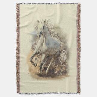 Manta Cobertura do lance do galope do cavalo branco