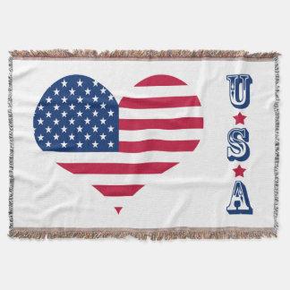 Manta Coração americano dos EUA da bandeira de América