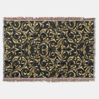 Manta Cores damasco bonitas do preto e do ouro
