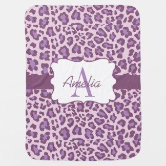 Manta De Bebe A lavanda roxa do impressão do leopardo Swaddle a