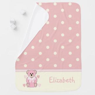 Manta De Bebe Bebê cor-de-rosa personalizado do urso de ursinho