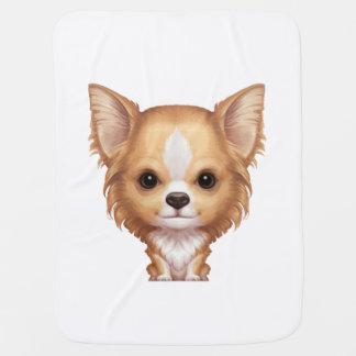 Manta De Bebe Chihuahua bege e branca de cabelos compridos
