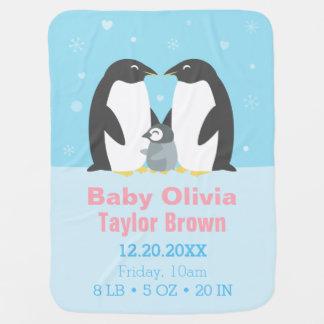 Manta De Bebe Cobertura bonito do bebê da família do pinguim do