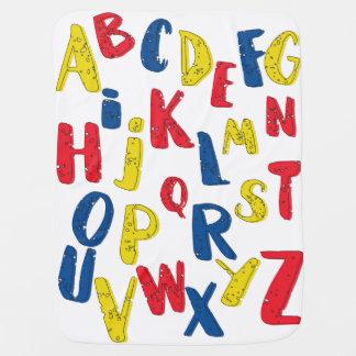 Manta De Bebe Cobertura do bebê da cor preliminar do alfabeto