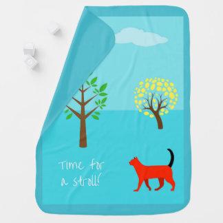 Manta De Bebe Cobertura do bebê de StylishTurquoise com um gato