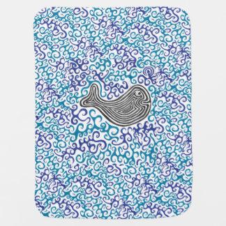 Manta De Bebe Cobertura do bebê do mar dos redemoinhos do azul