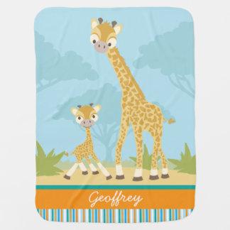 Manta De Bebe Cobertura feita sob encomenda do bebê do girafa