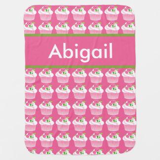 Manta De Bebe Cobertura personalizada do cupcake de Abigail