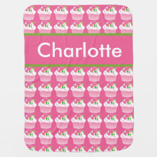 Manta De Bebe Cobertura personalizada do cupcake de Charlotte