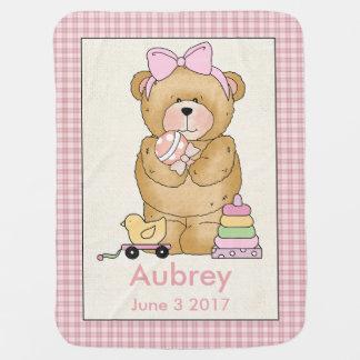 Manta De Bebe Cobertura personalizada do urso do bebê de Aubrey