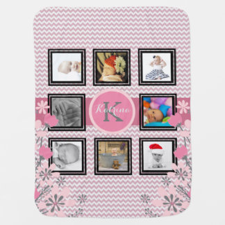Manta De Bebe Colagem personalizada   Chevron cor-de-rosa da
