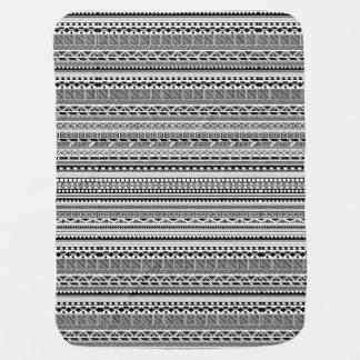 Manta De Bebe Design asteca branco preto bonito dos padrões