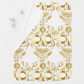 Manta De Bebe Design dourado do crânio do açúcar