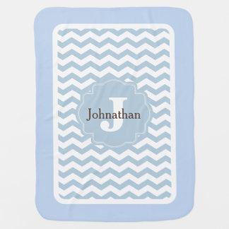 Manta De Bebe Do ziguezague azul de Chevron do monograma