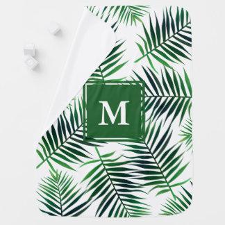 Manta De Bebe Folha tropical elegante da selva das folhas de