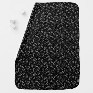 Manta De Bebe Folhas Assorted das cinzas no teste padrão preto