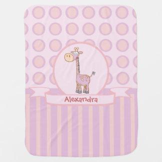 Manta De Bebe Girafa Cor-de-rosa-n-Alaranjado
