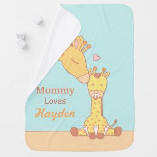 Manta De Bebe Girafa das mamães e cobertura personalizada vitela