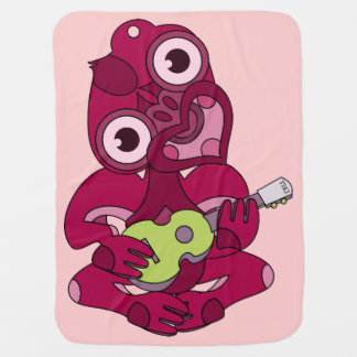 Manta De Bebe Hei cor-de-rosa Tiki que joga o ukelele