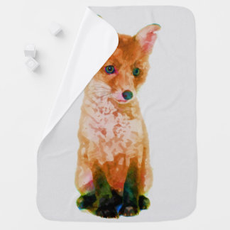 Manta De Bebe Impressão do berçário da aguarela do Fox do bebê
