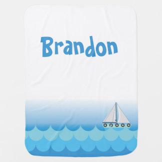Manta De Bebe Lago azul sea do oceano do marinheiro do barco de