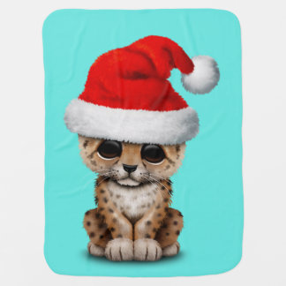 Manta De Bebe Leopardo bonito Cub que veste um chapéu do papai