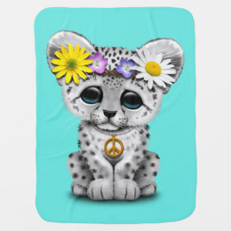 Manta De Bebe Leopardo de neve bonito Cub do Hippie