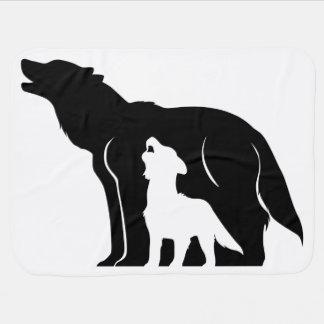 Manta De Bebe Lobos preto e branco