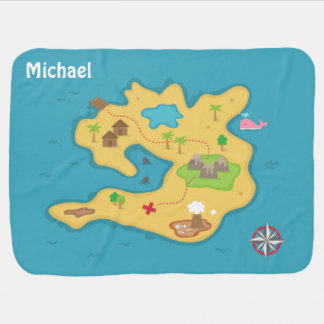 Manta De Bebe Mapa do tesouro da aventura da ilha do pirata para