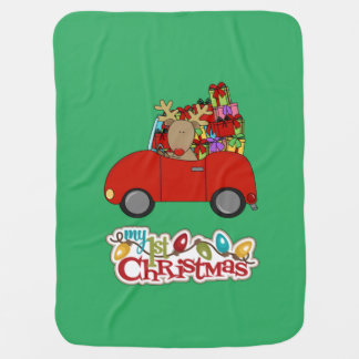 Manta De Bebe Meu ø Natal que conduz a rena