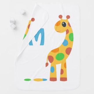 Manta De Bebe Monograma colorido do girafa dos desenhos animados