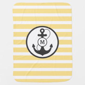 Manta De Bebe Monograma náutico amarelo da âncora