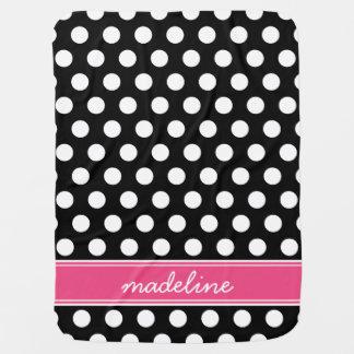 Manta De Bebe Monograma preto e cor-de-rosa das bolinhas