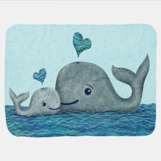Manta De Bebe Natação da mamã e do bebê da baleia no mar