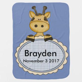 Manta De Bebe O girafa personalizado de Brayden