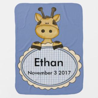 Manta De Bebe O girafa personalizado de Ethan