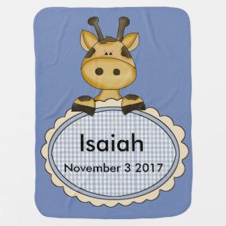 Manta De Bebe O girafa personalizado de Isaiah