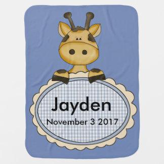 Manta De Bebe O girafa personalizado de Jayden