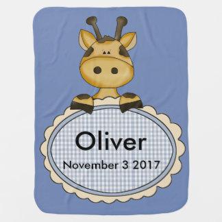 Manta De Bebe O girafa personalizado de Oliver
