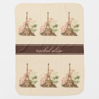 Manta De Bebe Os rosas do rosa do vintage de Paris personalizam