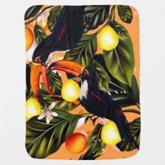 Manta De Bebe Paraíso tropical. Toucans e citrino