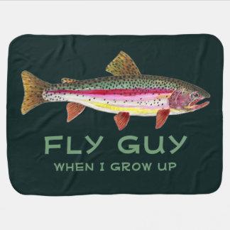 Manta De Bebe Pesca com mosca bonito da truta de arco-íris do